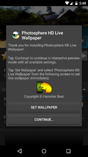 When-you-first-open-the-app-youll-see-this-screen.-You-can-tap-on-Set-Wallpaper-to-set-a-photosphere-as-wallpaper-with-the-apps-default-settings-or-you-can-tap-on-Continue-to-change-some-settings.