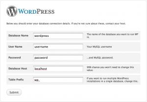 Pagina di configurazione di WordPress